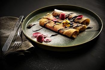 Crepes con composta di Lamponi e Cioccolato